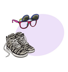 personal items from 90s - high sneakers vector image