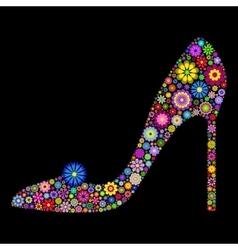 shoe on black background vector image