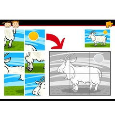 Cartoon goat jigsaw puzzle game vector
