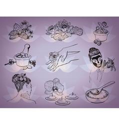 Hand Drawn Beauty Spa Icons vector image vector image