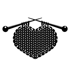 Silhouette of knitting heart vector image vector image
