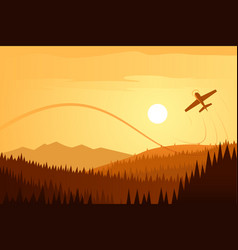 sun landscape and airplane acrobatics vector image