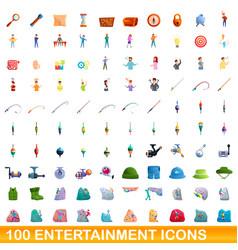 100 entertainment icons set cartoon style vector image