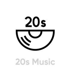 20s music vinyl icon editable line vector