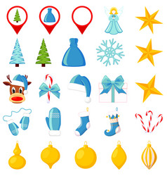25 blue and yellow cartoon christmas elements vector image