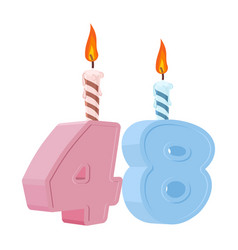48 years birthday number with festive candle for vector image