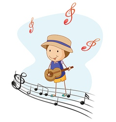 A kid playing with guitar vector