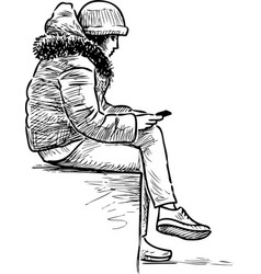 A teen girl sits on street bench with her vector