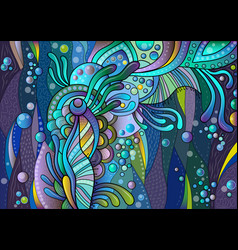 abstract colored pattern with floral and aquatic vector image