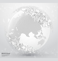 abstract planet earth with polygonal connecting vector image