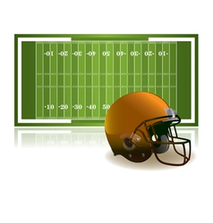 American Football Helmet and Field vector image vector image