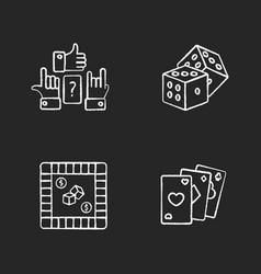 Amusing games chalk white icons set on black vector