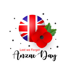 Anzac day card lest we forget realistic vector