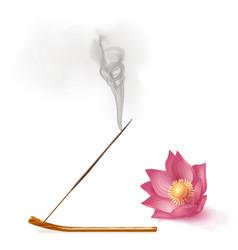 Aroma smoke reed sticks on holder lotus vector