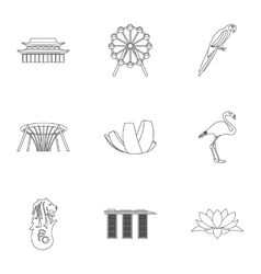 Attractions of Singapore icons set outline style vector