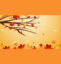 Background design template with red leaves vector