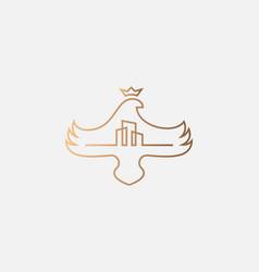bird crown linear logo icon design minimal style vector image