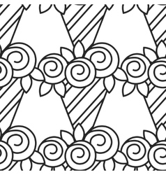 Black and white seamless pattern with roses for vector image