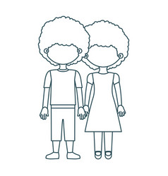 blue contour faceless curly couple girl with dress vector image