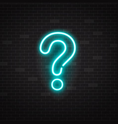 blue glowing outline neon question mark or sign on vector image