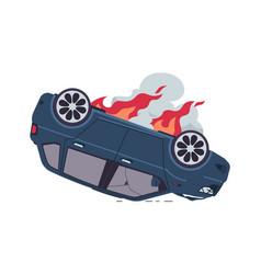 burning car automobile crash auto accident vector image