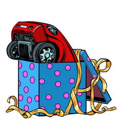 Car in a gift box vector