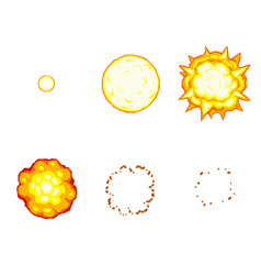 Cartoon explosion animation sprite isolated vector