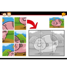 Cartoon pig jigsaw puzzle game vector