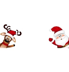 Christmas background Funny Santa and Reindeer vector image
