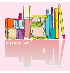 Colorful makeup kit vector