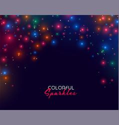 colorful neon sparkles on dark background design vector image