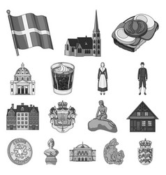 Country denmark monochrome icons in set collection vector