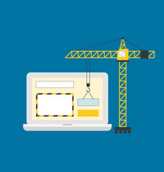 crane working with website page in laptop screen vector image