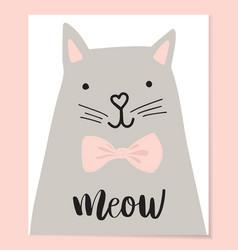 cute cat t-shirt print design vector image
