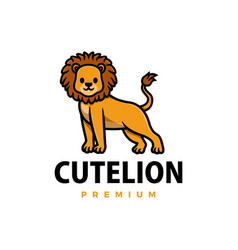 cute lion cartoon logo icon vector image