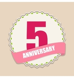 Cute Template 5 Years Anniversary Sign vector