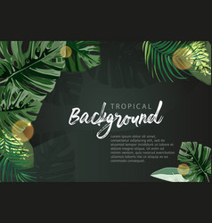 Dark tropical background exotic plants template vector
