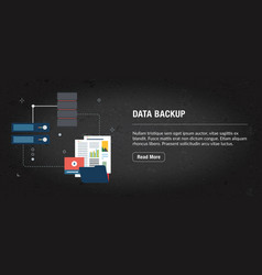 data backup concept banner internet with icons in vector image