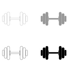 Dumbbell the black and grey color set icon vector