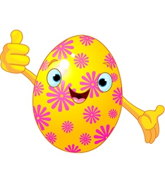 Easter Egg Character giving thumbs up vector