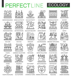 ecology technology outline concept symbols vector image vector image
