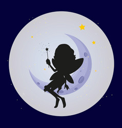 fairy silhouette on moon background vector image