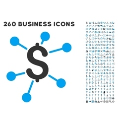 Financial Links Icon with Flat Set vector