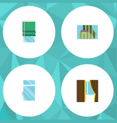 flat icon frame set of balcony curtain glass and vector image