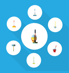 Flat icon mop set of bucket besom mop and other vector