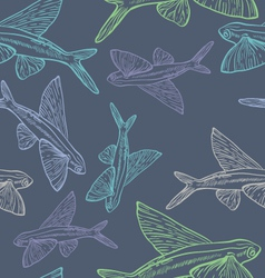 Flying fish seamless pattern vector