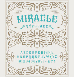 font miracle craft retro vintage typeface design vector image