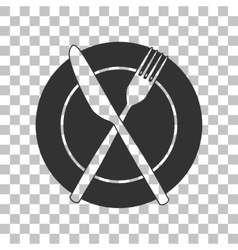 Fork tape and Knife sign Dark gray icon on vector image