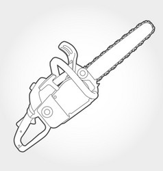 Gasoline-powered chain saw silhouette vector