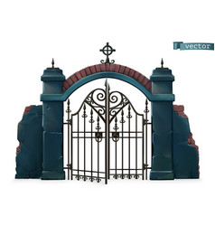 gates to cemetery happy halloween 3d cartoon vector image